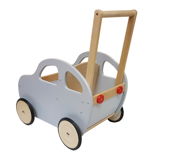 A grey wooden toy push car from the back