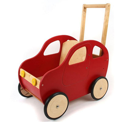 A red wooden toy car