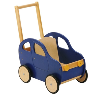 A blue wooden toy car