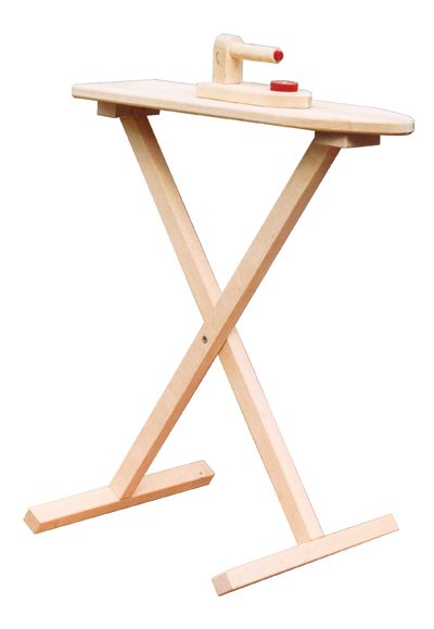 A wooden toy ironing board