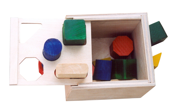Wooden blocks in a box