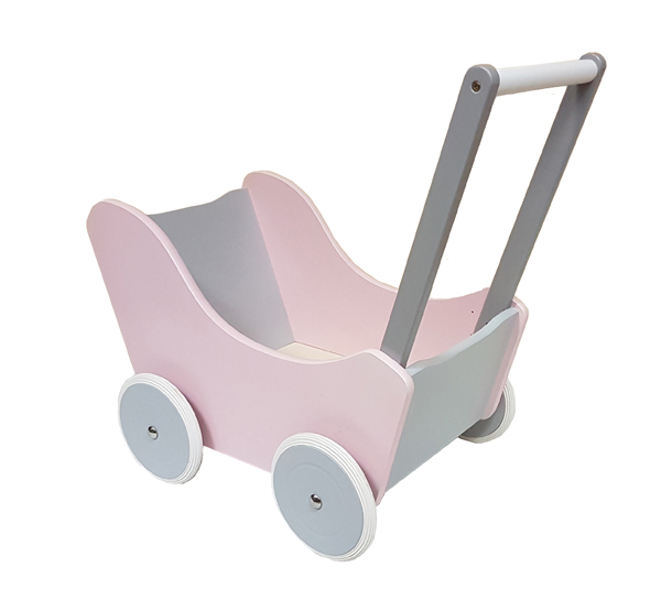 A pink wooden trolley toy