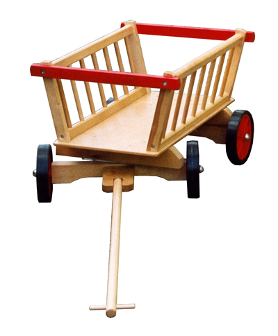 A wooden toy carriage