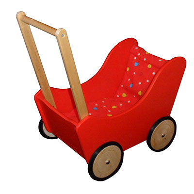A red wooden doll pram