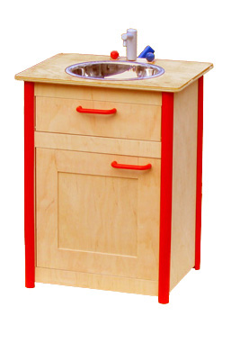 A wooden toy sink and oven